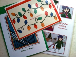 A few Christmas cards available at The Nancydraws Shop.